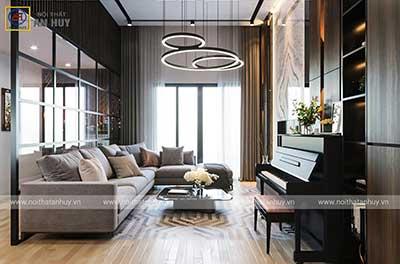 Thiết kế nội thất phòng khách chung cư GoldenPalace – Mễ Trì