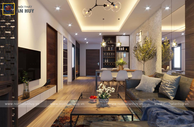 Mê mẩn với mẫu thiết kế nội thất chung cư Phạm Văn Đồng – 70m2