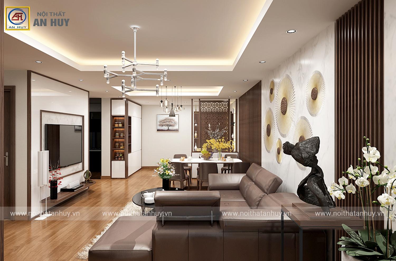 Thiết kế thi công nội thất chung cư 3 phòng ngủ chị Lan – Hòa Phát 2