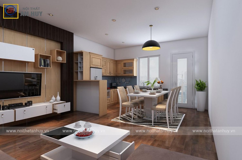 Thiết kế thi công phòng khách bếp chung cư Anh Lâm – Đội Cấn