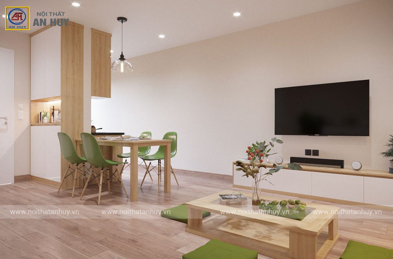 Thiết kế thi công nội thất chung cư 56m2 – 2PN – Mandarin Garden 2 – Tân Mai